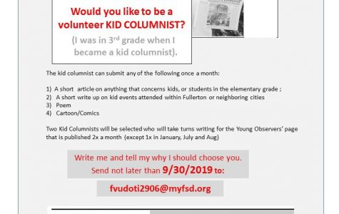 Student writer opportunity for the Fullerton Observer