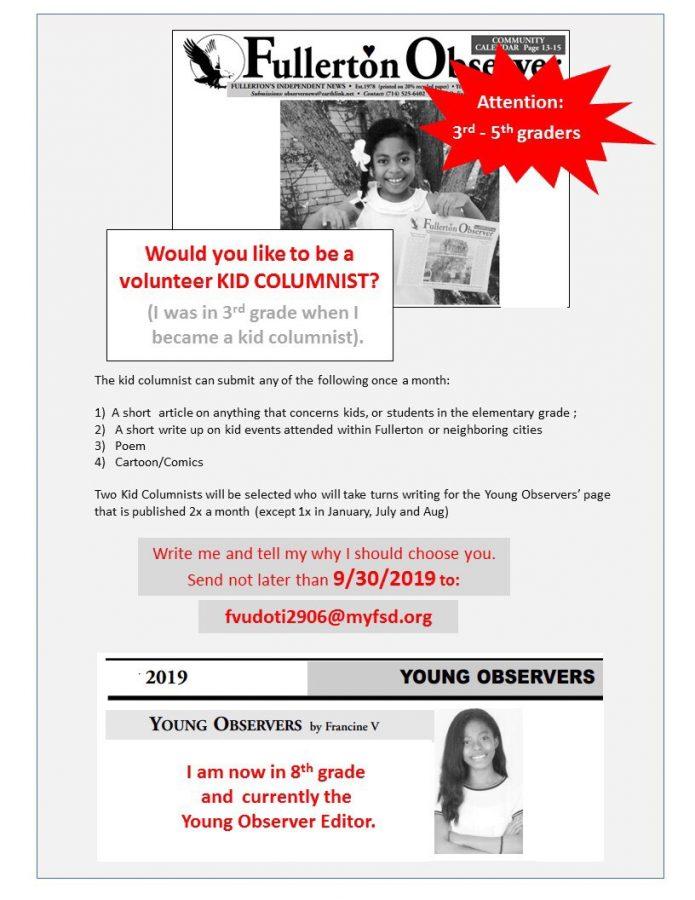 Student writer opportunity for the Fullerton Observer