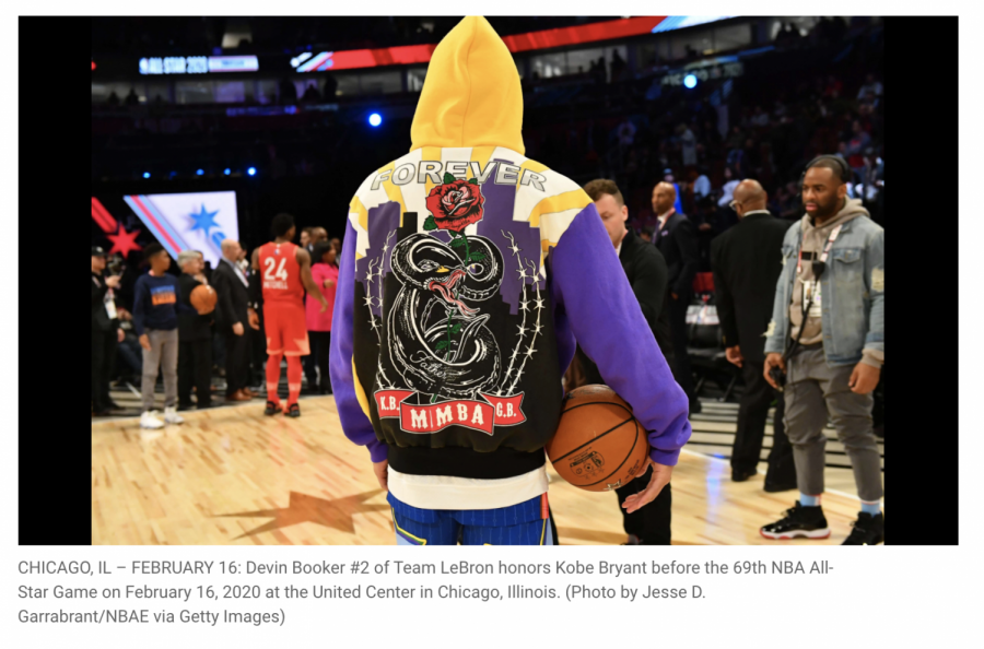 Devin Booker #2 of Team LeBron honors Kobe Bryant before the 69th NBA All-Star Game on February 16, 2020 at the United Center in Chicago, Illinois
