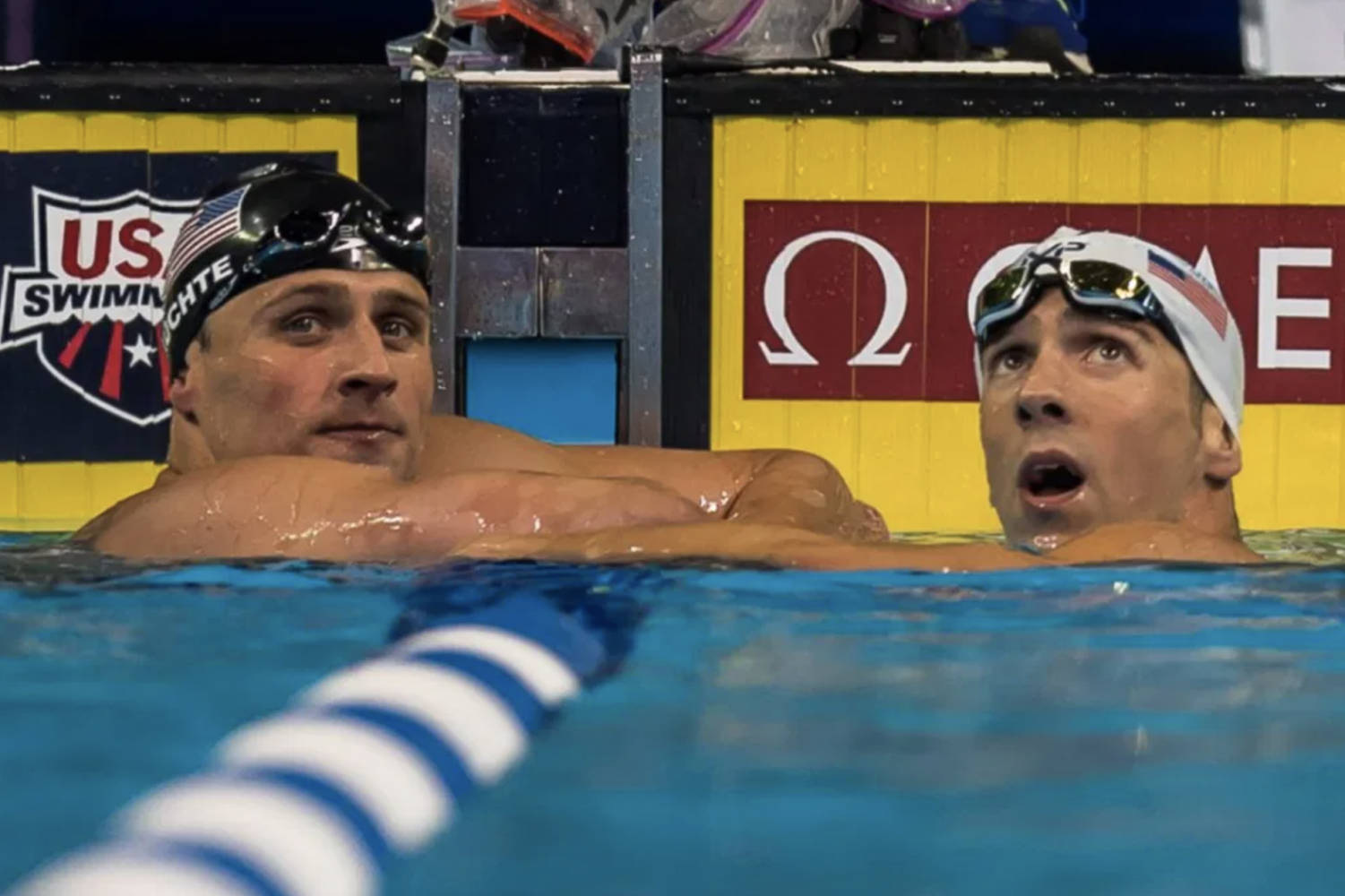 Ryan Lochte and Michael Phelps in Water at Rio Olympics