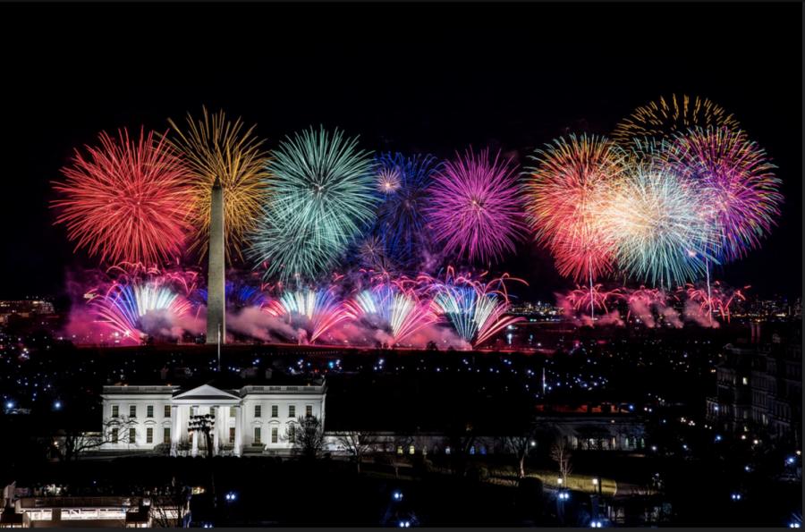 Fireworks above Washington D.C for Joe Biden's Inaguration